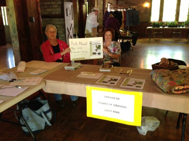Beth and Fran promoting the new Friends of Cedars of Lebanon State Park group. Photo by Leslie Barrett