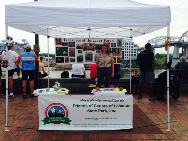 Ranger Sarah tends the Friends of Cedars of Lebanon State Park booth - 27 July 2014