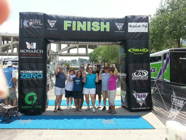 Beth, Fran, Leslie, Sarah, Glenda, Marc, Tim and Linda at the Music City Triathlon - 27 July 2014