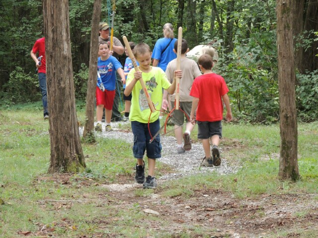 Cub Scout Troop 148 return from clearing Dixon Merritt Trail at Cedars of Lebanon State Park - 9 August 2014