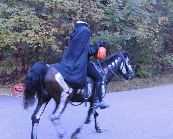 The Headless Horseman roams the cedar forest in search of his head...